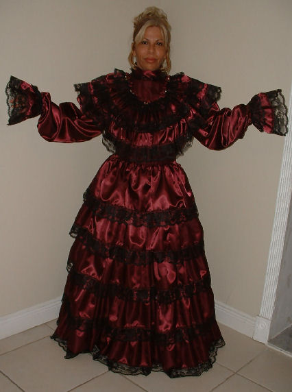 """BURGUNDY LONG"" Gothic Dress"