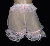 PNT-S  Sheer NYLON CHIFFON Pantaloon Panties w/ Lace