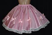 SKI-P1  Pink Full Curcle Skirt with Bows & Lace