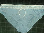 "Sissy- Hugging Spandex Lace & Ribbons PANTIES ""Lt. BLUE"" 36""- 46"""