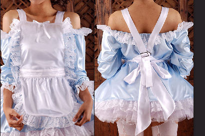 sat968  Satin Maids Apron PINAFORE f/ Dress
