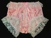 Zip-3 Adult Sissy SATIN Full Cut Panties - Cross Dresser - Zipper Front & Lace
