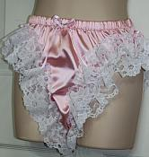 HL-4 High Leg Lace Sissy Ruffle Panties - Custom Made Nickers - Pink