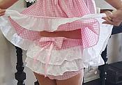 D-204   PINK Gingham BABY DRESS with PANTIES SET