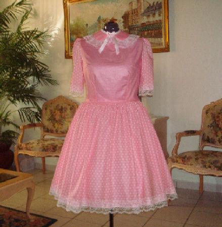50-001   Natalie Pink Polka Dot Dress