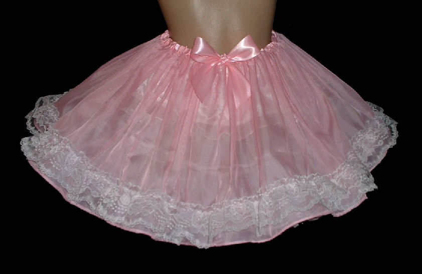 ski-s2  Sheer Pink Voile & lace Skirt